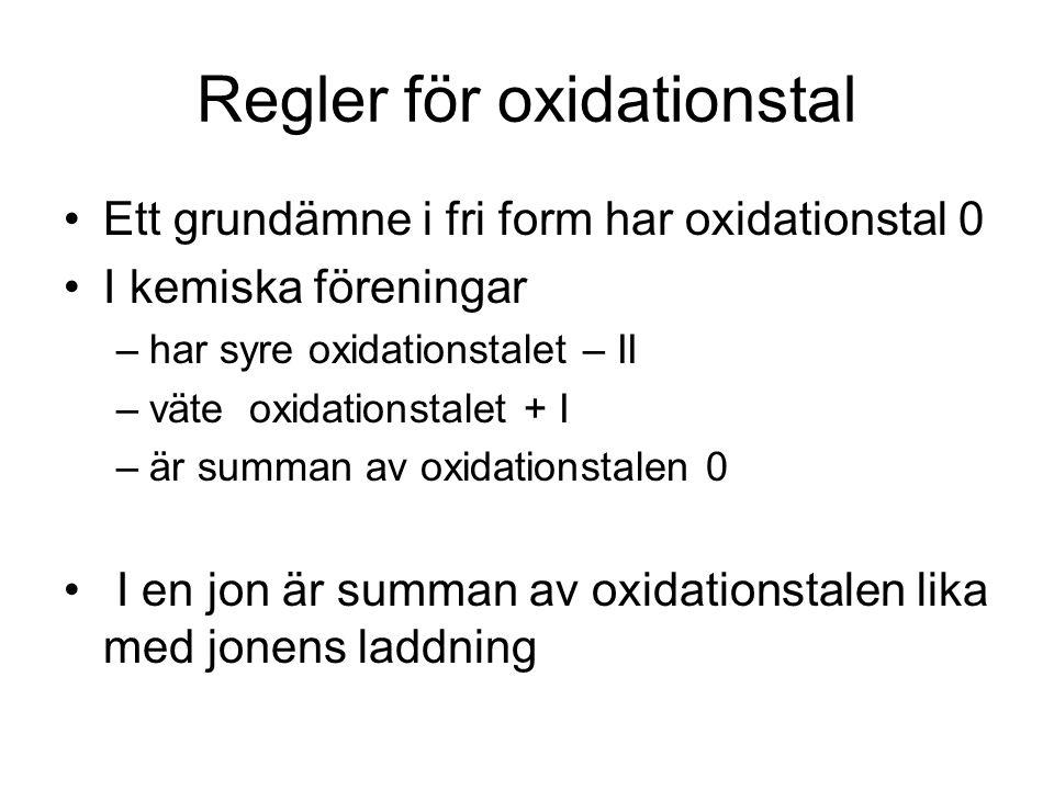 Regler för oxidationstal
