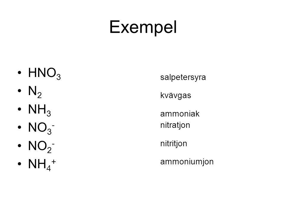 Exempel HNO3 salpetersyra N2 kvävgas NH3 ammoniak NO3- nitratjon