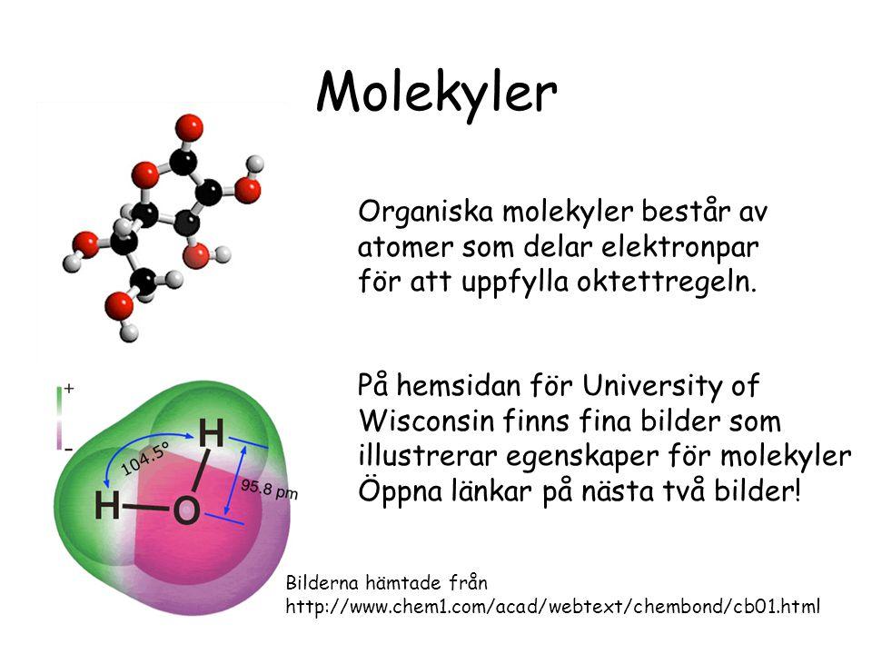 Molekyler Organiska molekyler består av atomer som delar elektronpar