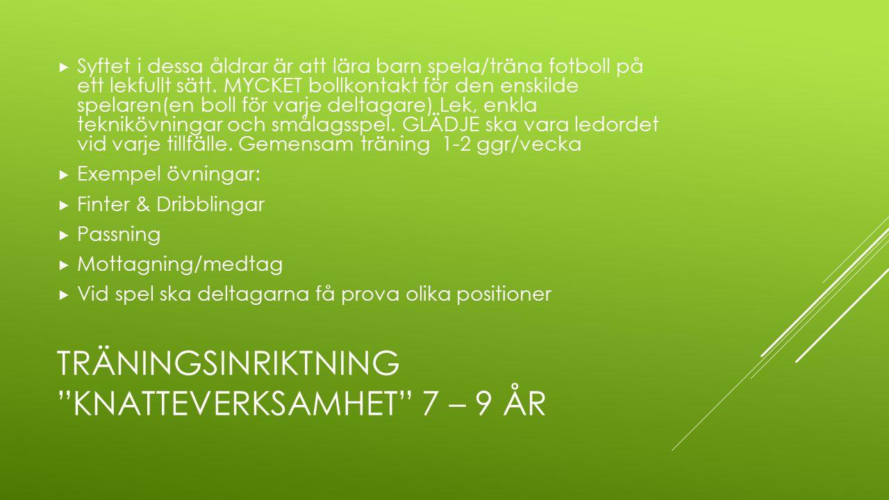 TRÄNINGSINRIKTNING knatteverksamhet 7 – 9 ÅR