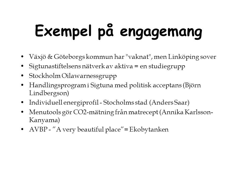Exempel på engagemang Växjö & Göteborgs kommun har vaknat , men Linköping sover. Sigtunastiftelsens nätverk av aktiva = en studiegrupp.