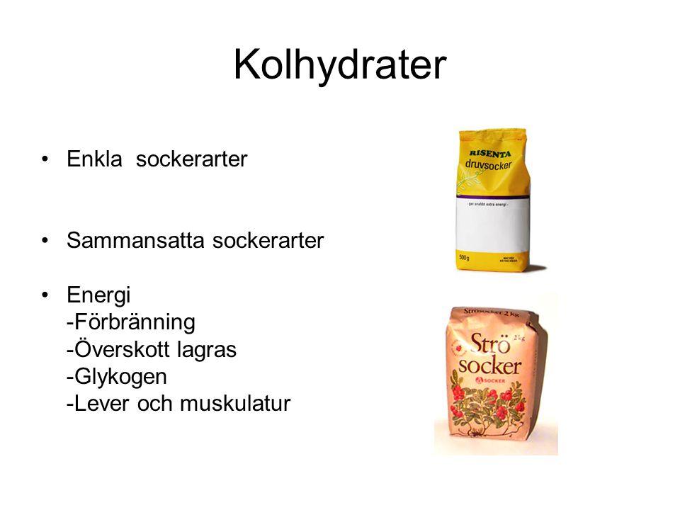 Kolhydrater Enkla sockerarter Sammansatta sockerarter Energi