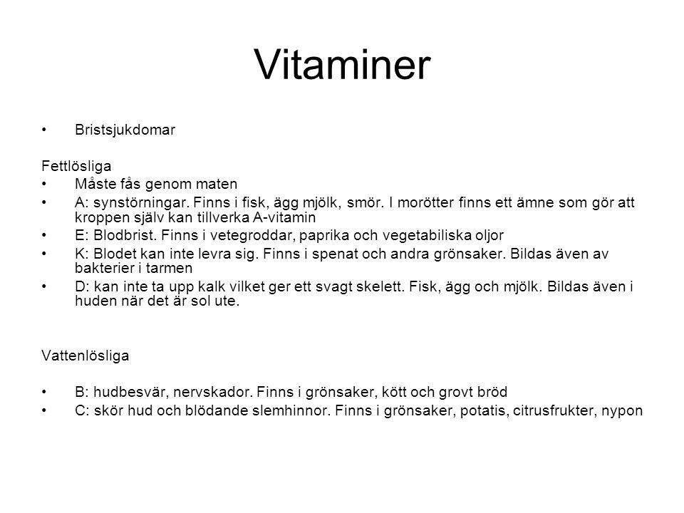 Vitaminer Bristsjukdomar Fettlösliga Måste fås genom maten