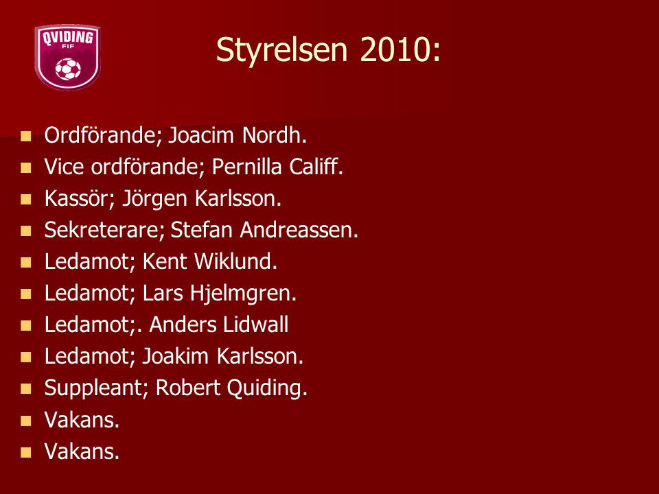Styrelsen 2010: Ordförande; Joacim Nordh.