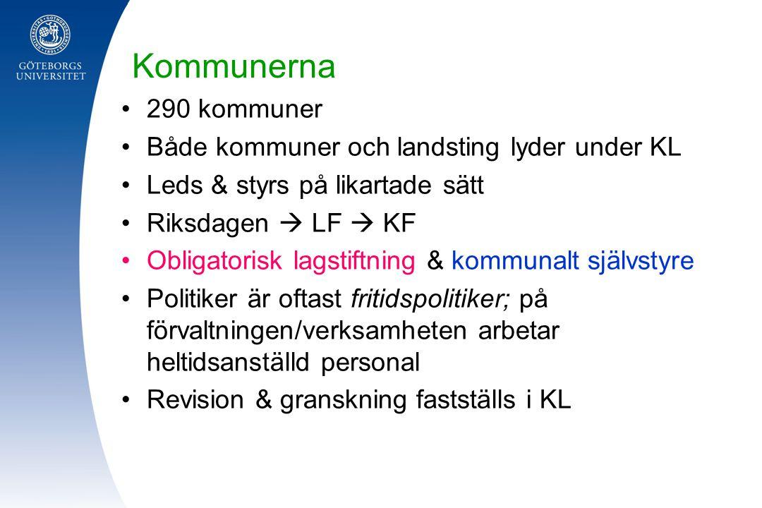 Kommunerna 290 kommuner Både kommuner och landsting lyder under KL