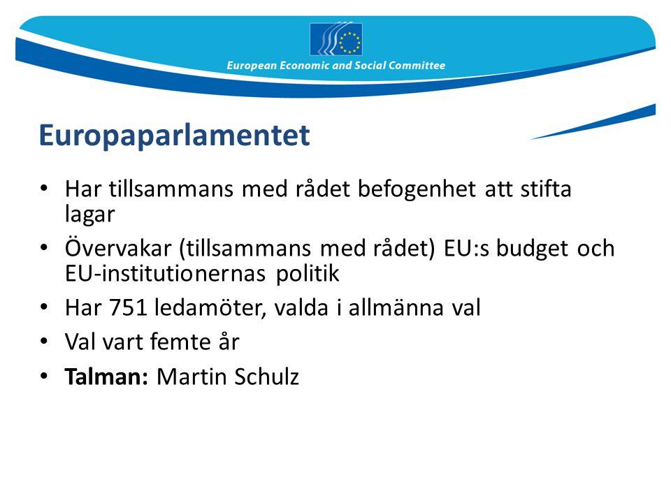 Europaparlamentet Har tillsammans med rådet befogenhet att stifta lagar.