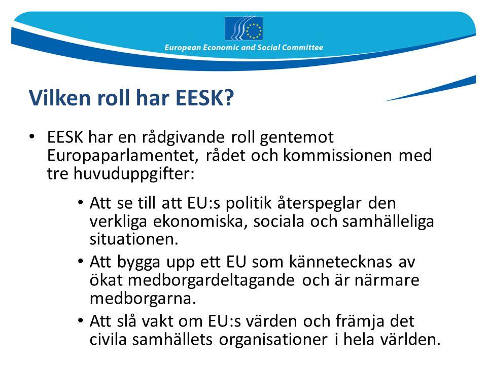 Vilken roll har EESK EESK har en rådgivande roll gentemot Europaparlamentet, rådet och kommissionen med tre huvuduppgifter: