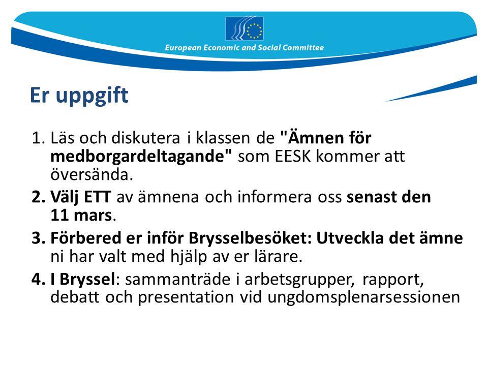 Er uppgift Läs och diskutera i klassen de Ämnen för medborgardeltagande som EESK kommer att översända.
