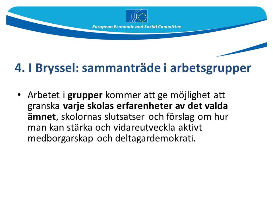 4. I Bryssel: sammanträde i arbetsgrupper