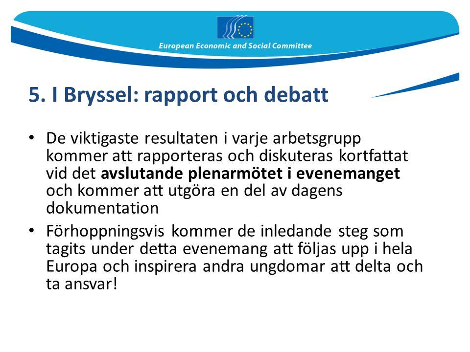 5. I Bryssel: rapport och debatt