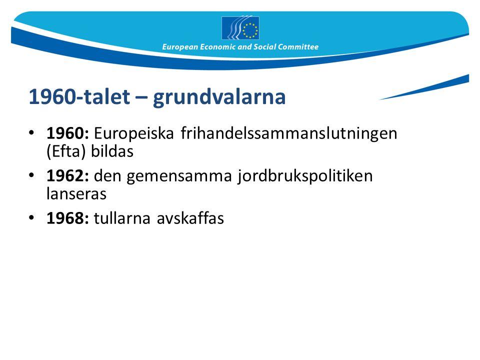 1960-talet – grundvalarna 1960: Europeiska frihandelssammanslutningen (Efta) bildas. 1962: den gemensamma jordbrukspolitiken lanseras.