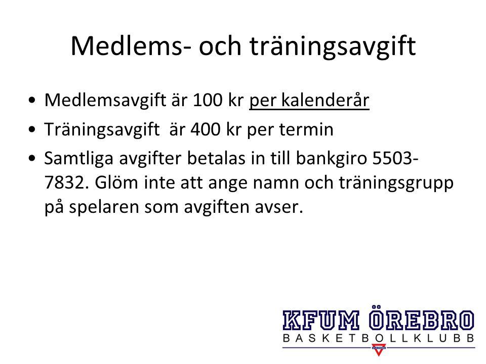 Medlems- och träningsavgift
