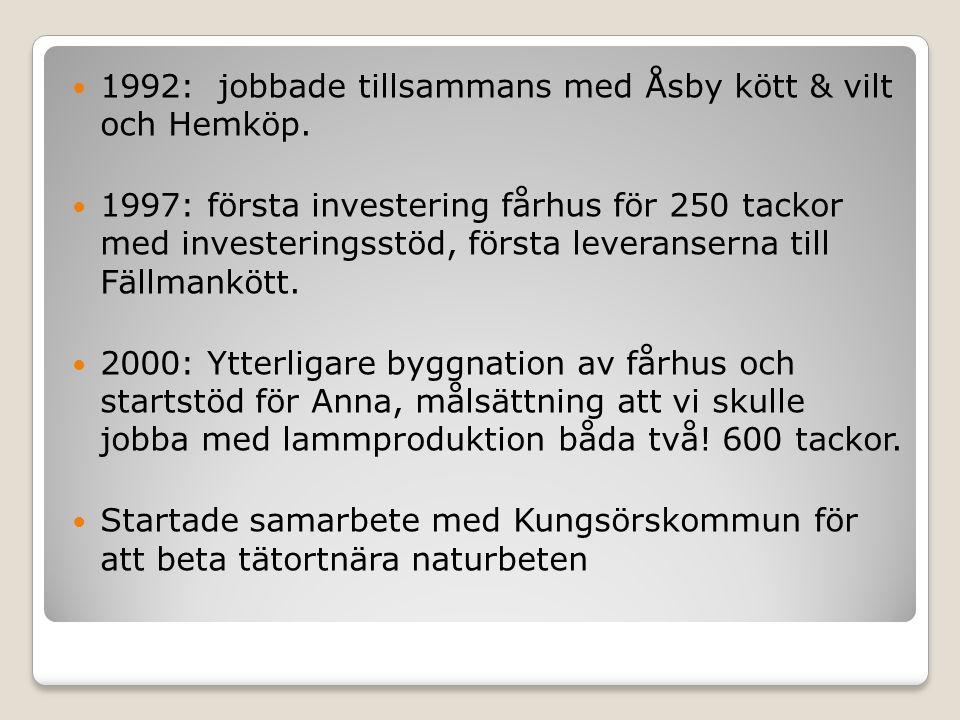 1992: jobbade tillsammans med Åsby kött & vilt och Hemköp.