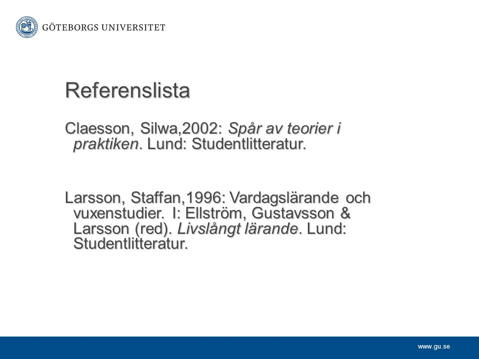 Referenslista Claesson, Silwa,2002: Spår av teorier i praktiken. Lund: Studentlitteratur.