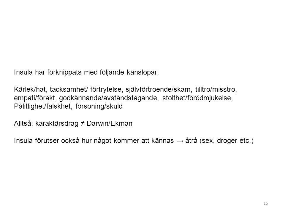 Insula har förknippats med följande känslopar: