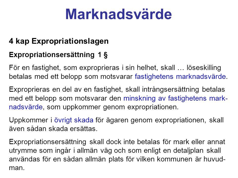 Marknadsvärde 4 kap Expropriationslagen Expropriationsersättning 1 §