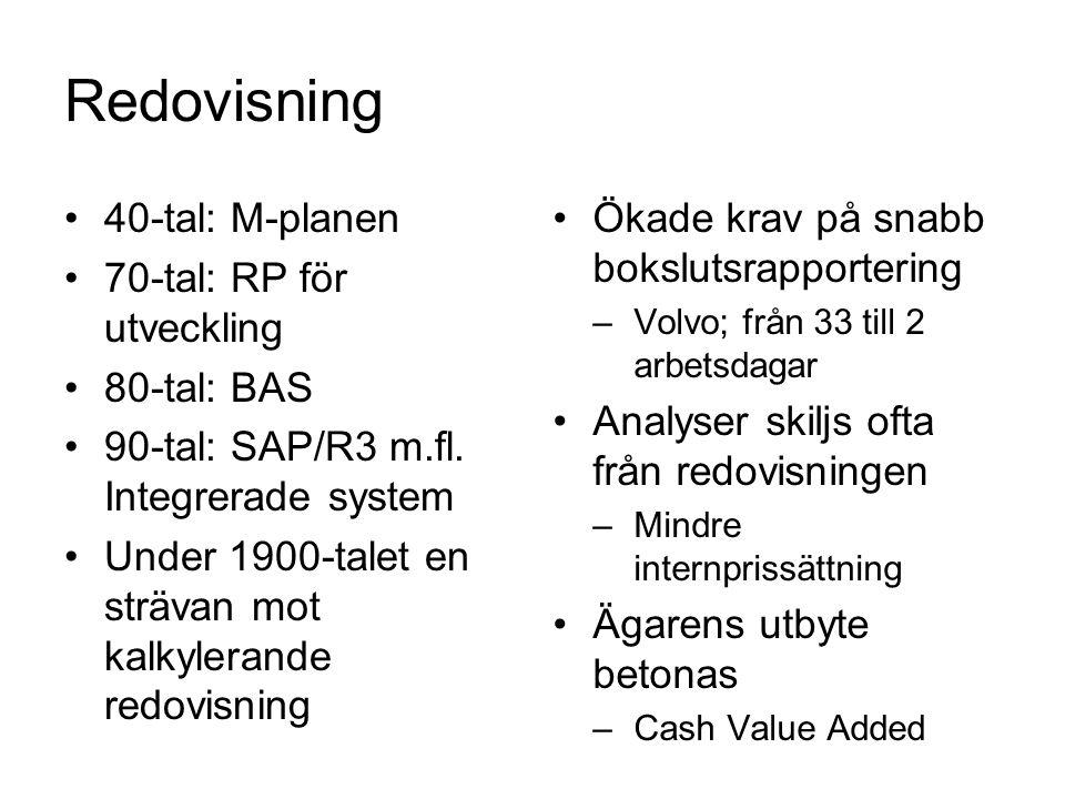 Redovisning 40-tal: M-planen 70-tal: RP för utveckling 80-tal: BAS