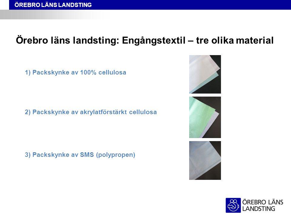 Örebro läns landsting: Engångstextil – tre olika material
