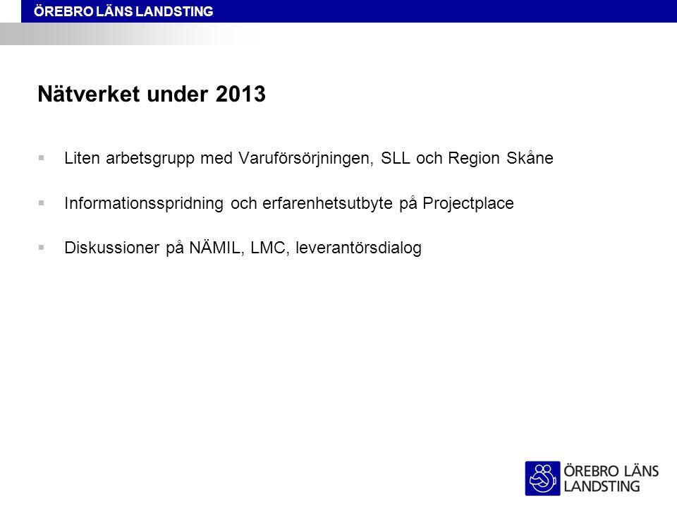 Nätverket under 2013 Liten arbetsgrupp med Varuförsörjningen, SLL och Region Skåne. Informationsspridning och erfarenhetsutbyte på Projectplace.