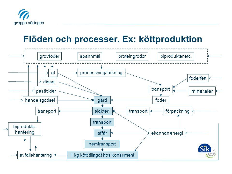 Flöden och processer. Ex: köttproduktion
