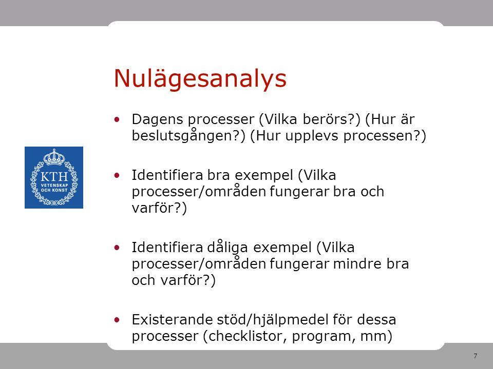Nulägesanalys Dagens processer (Vilka berörs ) (Hur är beslutsgången ) (Hur upplevs processen )