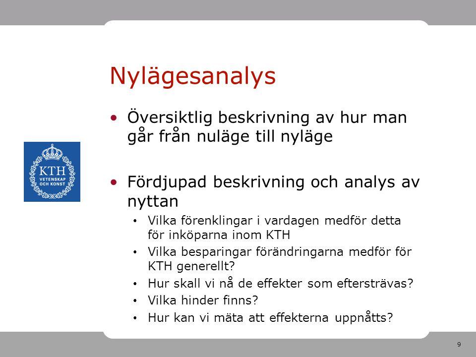 Nylägesanalys Översiktlig beskrivning av hur man går från nuläge till nyläge. Fördjupad beskrivning och analys av nyttan.