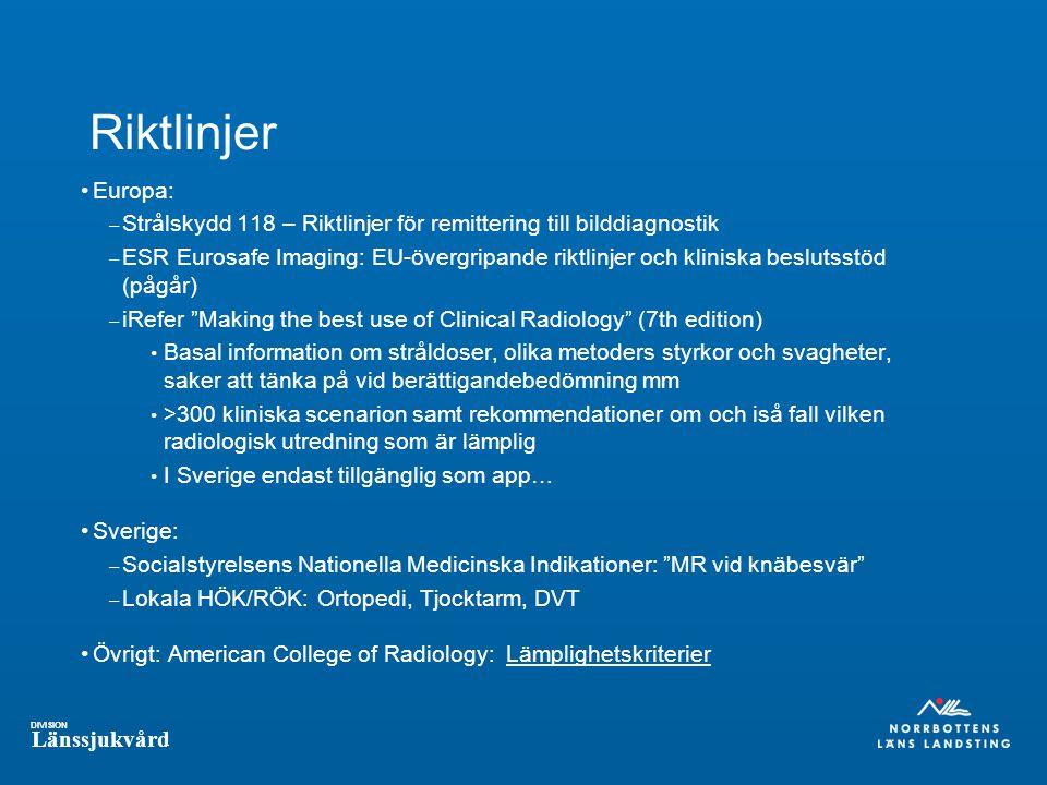 Riktlinjer Europa: Strålskydd 118 – Riktlinjer för remittering till bilddiagnostik.
