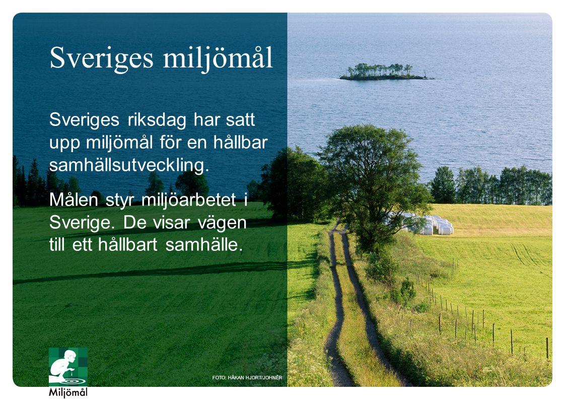 Sveriges miljömål Sveriges riksdag har satt upp miljömål för en hållbar samhällsutveckling.