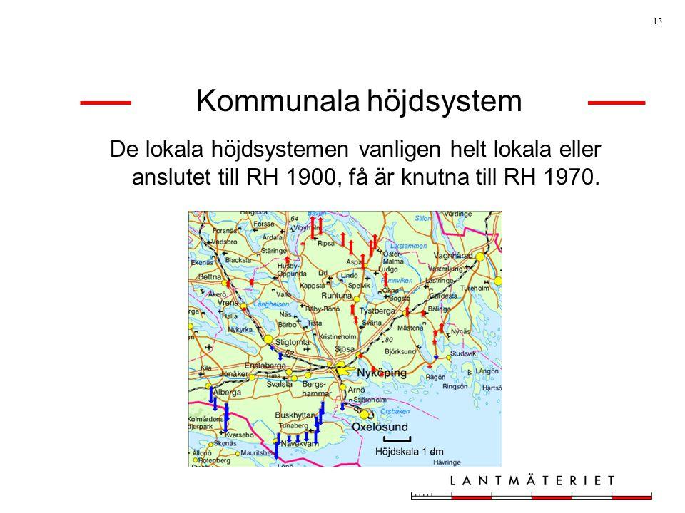 Kommunala höjdsystem De lokala höjdsystemen vanligen helt lokala eller anslutet till RH 1900, få är knutna till RH 1970.