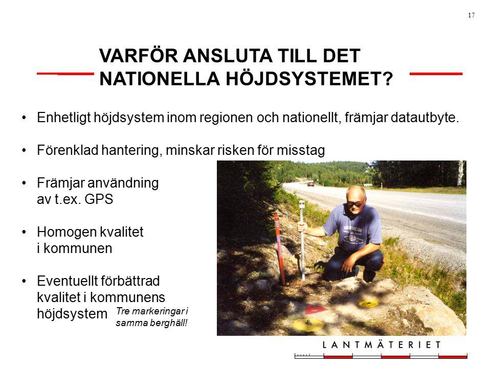 VARFÖR ANSLUTA TILL DET NATIONELLA HÖJDSYSTEMET