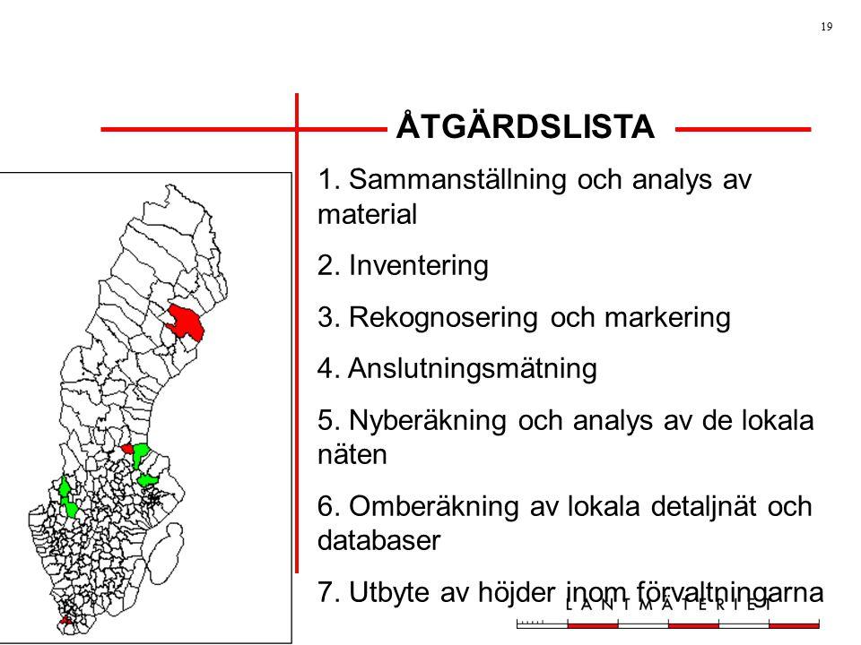 ÅTGÄRDSLISTA 1. Sammanställning och analys av material 2. Inventering
