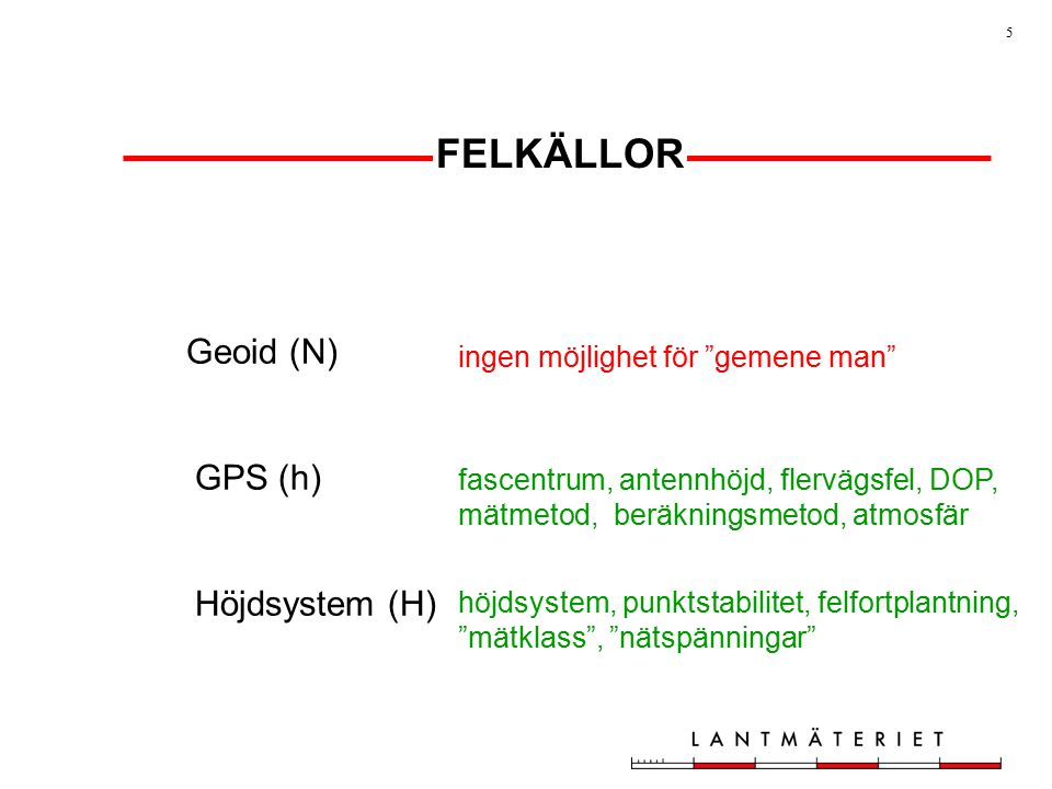 FELKÄLLOR Geoid (N) GPS (h) Höjdsystem (H)