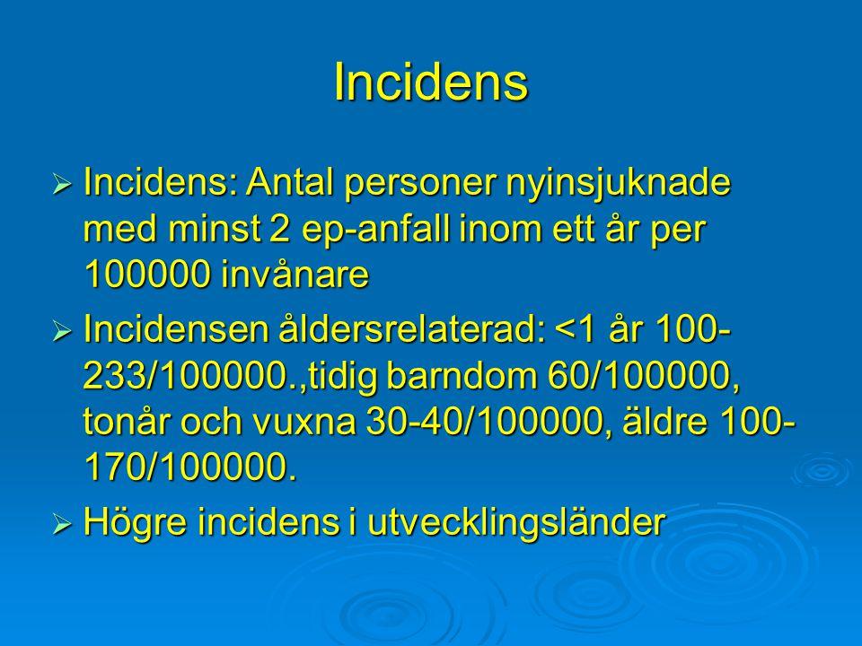 Incidens Incidens: Antal personer nyinsjuknade med minst 2 ep-anfall inom ett år per 100000 invånare.