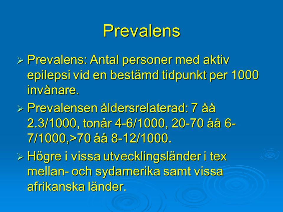 Prevalens Prevalens: Antal personer med aktiv epilepsi vid en bestämd tidpunkt per 1000 invånare.
