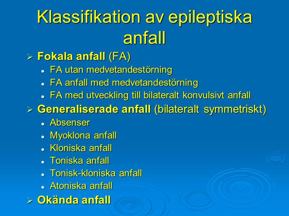 Klassifikation av epileptiska anfall