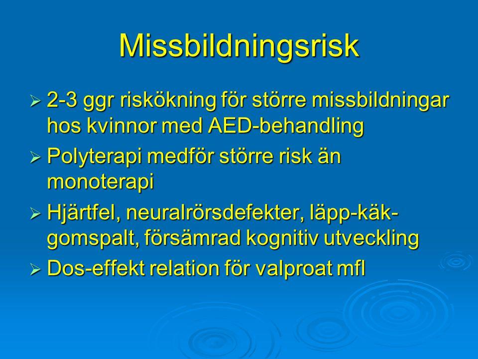 Missbildningsrisk 2-3 ggr riskökning för större missbildningar hos kvinnor med AED-behandling. Polyterapi medför större risk än monoterapi.