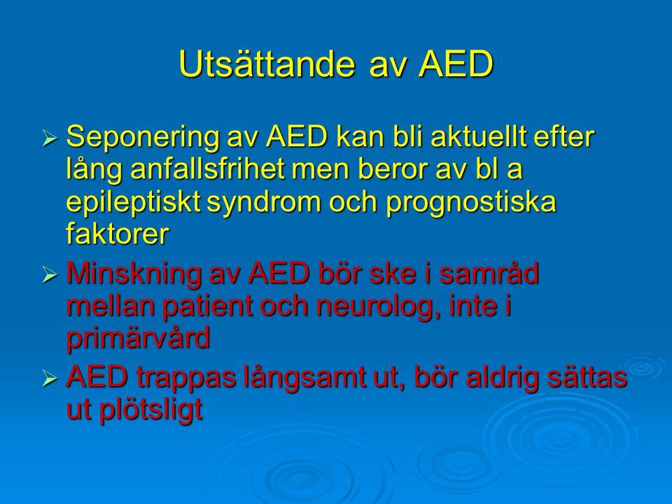 Utsättande av AED Seponering av AED kan bli aktuellt efter lång anfallsfrihet men beror av bl a epileptiskt syndrom och prognostiska faktorer.