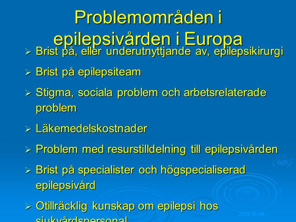 Problemområden i epilepsivården i Europa