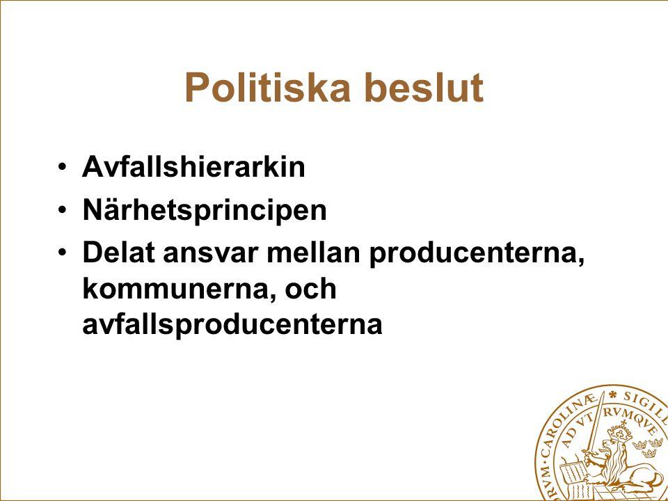 Politiska beslut Avfallshierarkin Närhetsprincipen
