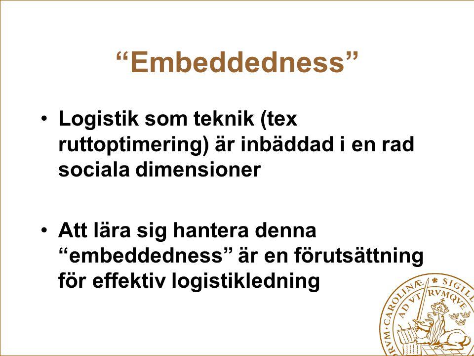 Embeddedness Logistik som teknik (tex ruttoptimering) är inbäddad i en rad sociala dimensioner.