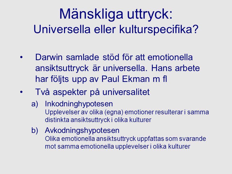 Mänskliga uttryck: Universella eller kulturspecifika
