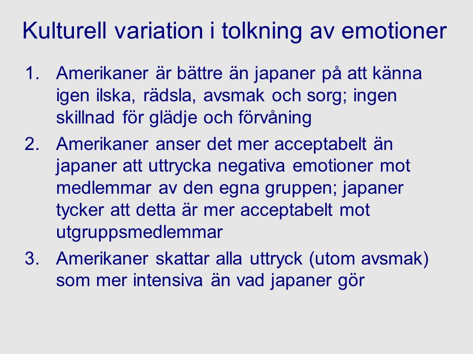 Kulturell variation i tolkning av emotioner