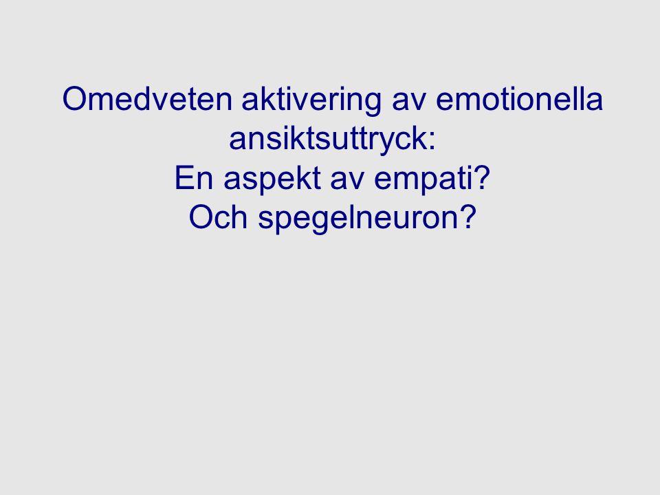 Omedveten aktivering av emotionella ansiktsuttryck: En aspekt av empati Och spegelneuron