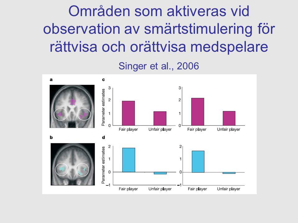 Områden som aktiveras vid observation av smärtstimulering för rättvisa och orättvisa medspelare Singer et al., 2006