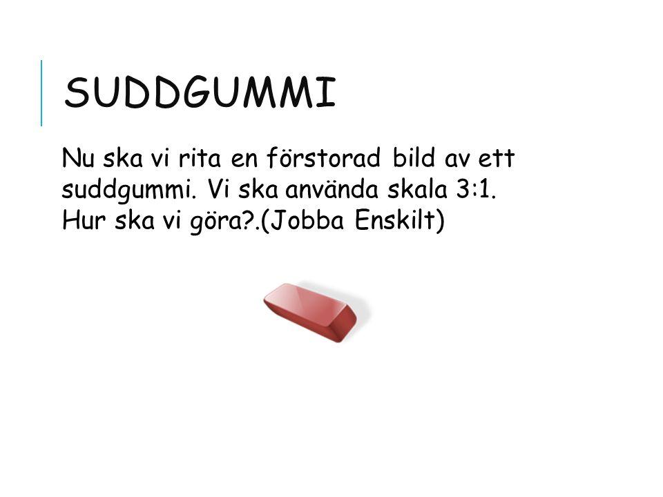 Suddgummi Nu ska vi rita en förstorad bild av ett suddgummi.