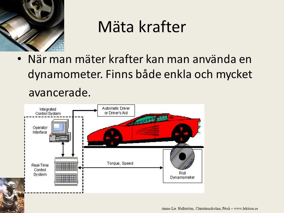 Mäta krafter När man mäter krafter kan man använda en dynamometer. Finns både enkla och mycket. avancerade.