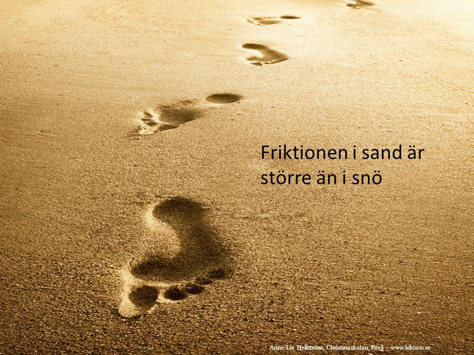 Friktionen i sand är större än i snö