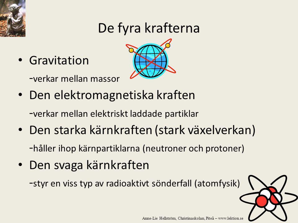 De fyra krafterna Gravitation -verkar mellan massor