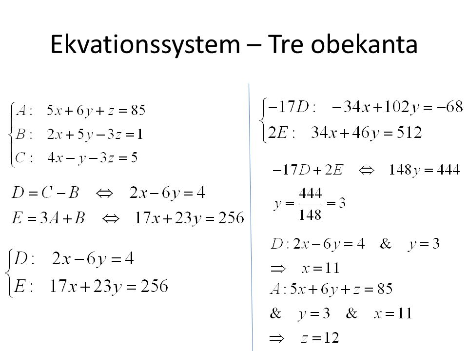 Ekvationssystem – Tre obekanta