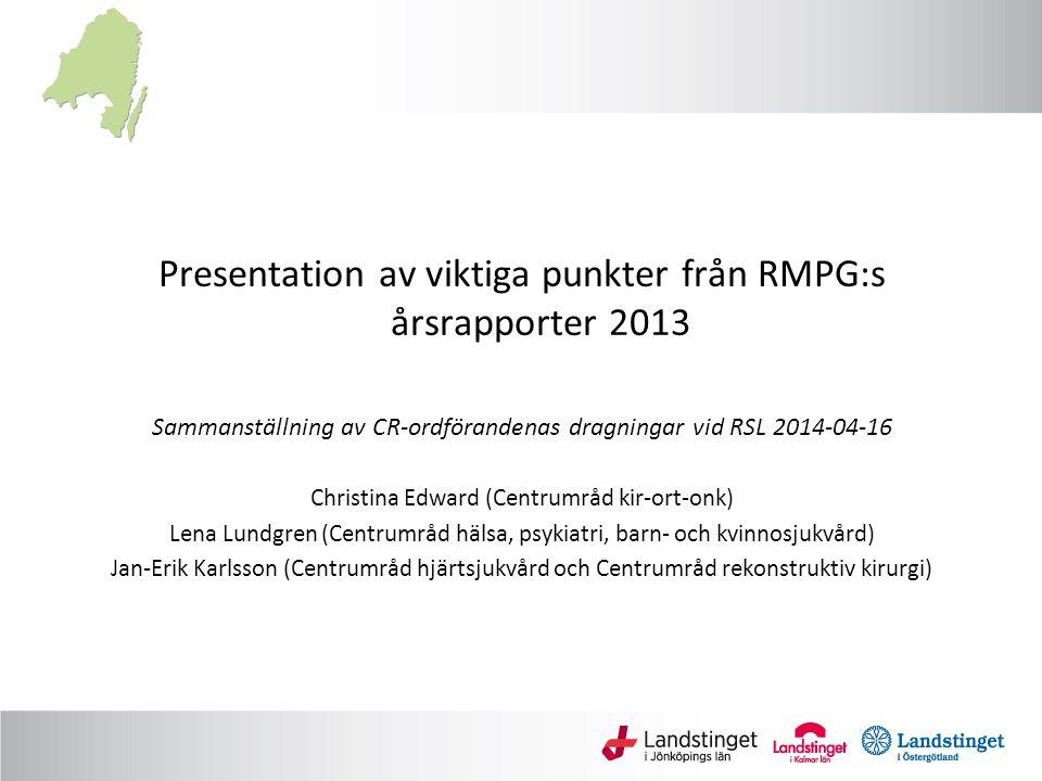 Presentation av viktiga punkter från RMPG:s årsrapporter 2013